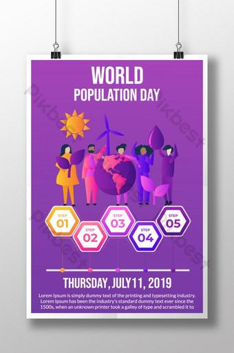 세계 인구의 날 포스터를위한 현대적인 인포 그래픽 유형 템플릿 AI
