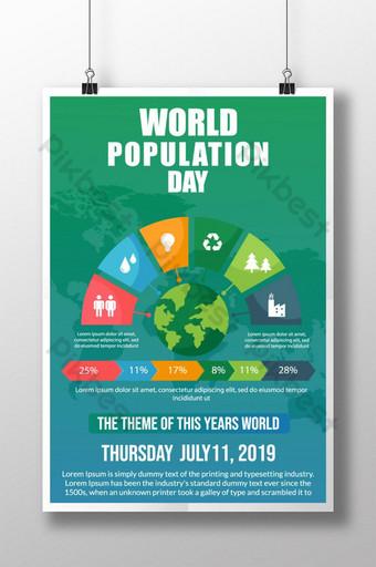 멋진 다채로운 인포 그래픽 세계 인구의 날 축하 포스터 템플릿 AI