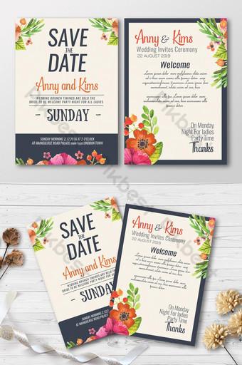 Carte d'invitation de mariage floral aquarelle Modèle PSD