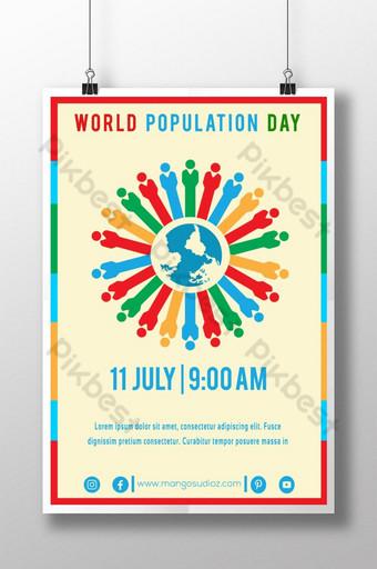 다채로운 세계 인구의 날 축하 포스터 템플릿 AI