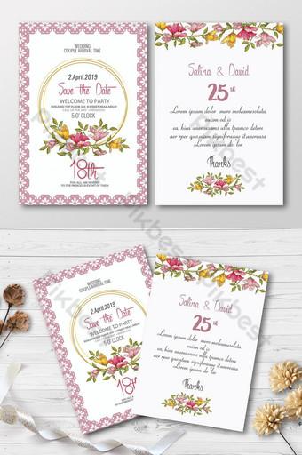 Carte d'invitation florale juste se marier Modèle PSD