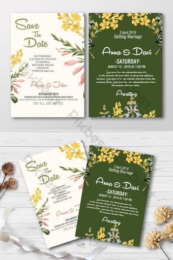 Carte d'invitation de mariage floral 2 faces Modèle PSD
