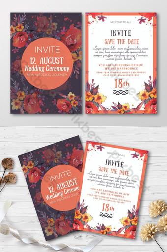 Carte d'invitation florale orange et bleue Modèle PSD