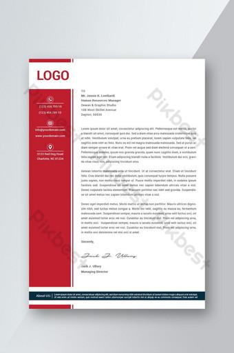 Flyer de papier à en-tête de couleur rouge Business Style Modèle AI