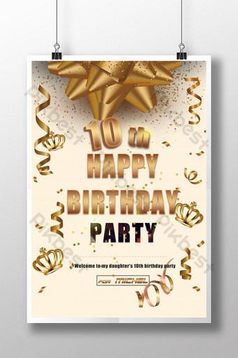 10º pôster com tema de festa de feliz aniversário com fita dourada Modelo PSD