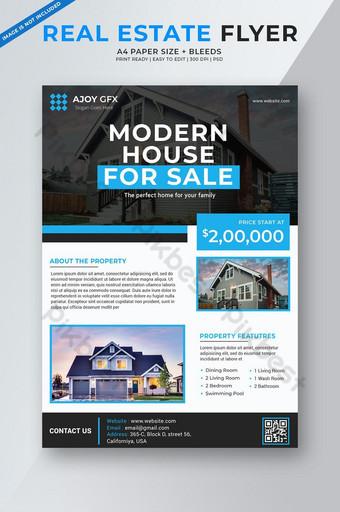 folleto profesional de bienes raíces azul Modelo PSD