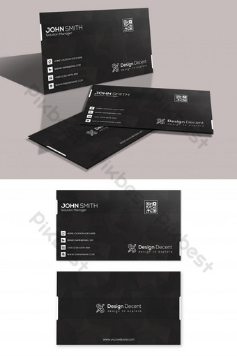 Carte de visite noir et blanc Modèle PSD