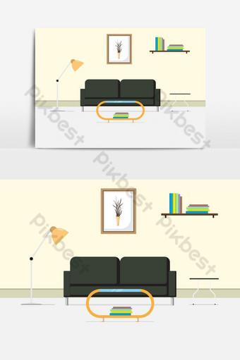 cómodo elemento gráfico de vector de sala de estar interior Elementos graficos Modelo EPS