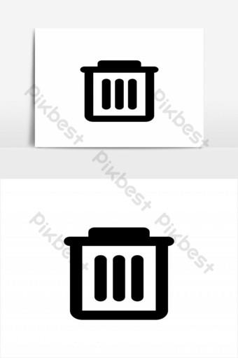 elemento gráfico de vector de diseño de icono de papelera simple Elementos graficos Modelo EPS
