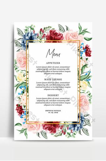 fond de carte de menu illustration aquarelle cadre floral Fond Modèle AI