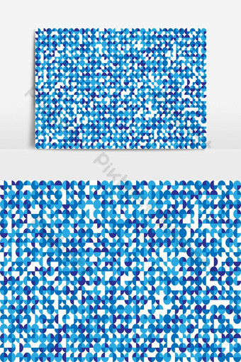 Seamless blue circle mosaic on white background PNG Images Template EPS