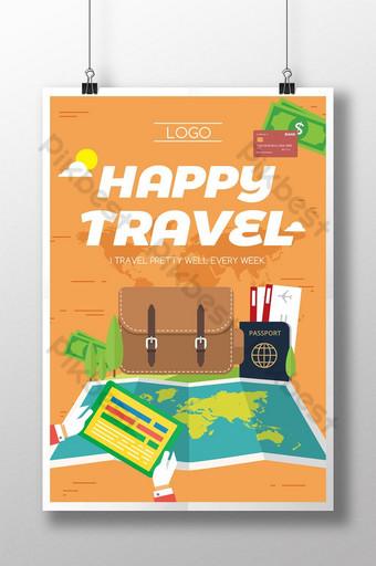 Affiche de vacances de voyage carte dessinée à la main Modèle PSD