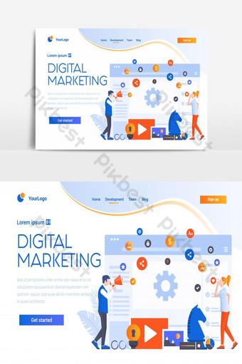 elemento gráfico de vector de pantalla de interfaz de usuario de página de destino de sitio web creativo de agencia de marketing digital Elementos graficos Modelo AI