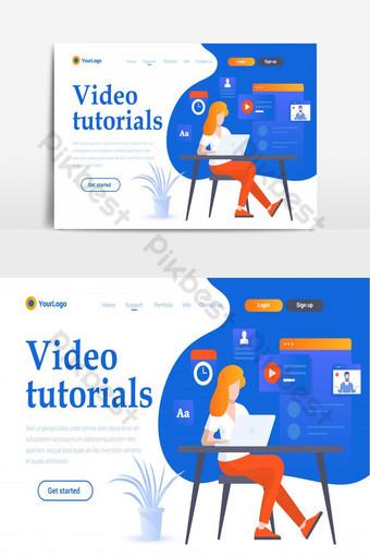 video tutoriales página de inicio del sitio web creativo elemento gráfico de vector de pantalla ui Elementos graficos Modelo AI