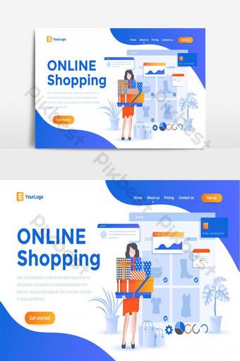 compras en línea comercio electrónico sitio web creativo página de aterrizaje ui pantalla elemento gráfico vectorial Elementos graficos Modelo AI