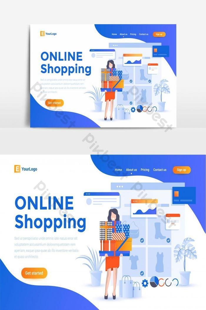 オンラインショッピングeコマースクリエイティブウェブサイトランディングページui画面ベクトルグラフィック要素