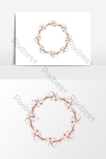 elemento gráfico de vector de guirnalda floral de decoración de boda Elementos graficos Modelo PSD