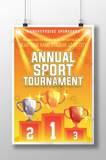 Conception de modèle d'affiche de tournoi de sport annuel coloré pour le club Modèle AI