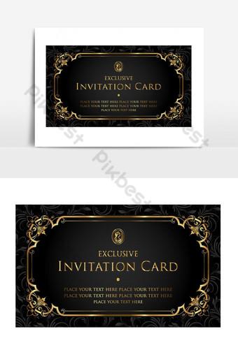 بطاقة دعوة ذهبية فاخرة ناقلات عنصر الرسم صور PNG قالب AI