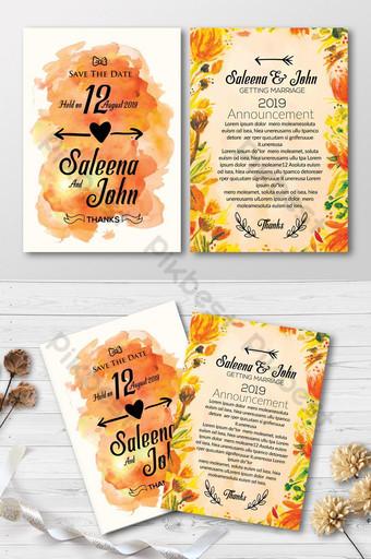 Cartes d'invitation aquarelle double face orange Modèle PSD