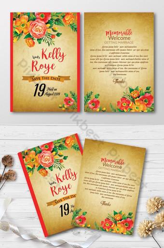 Cartes d'invitation florales de look vintage Modèle PSD