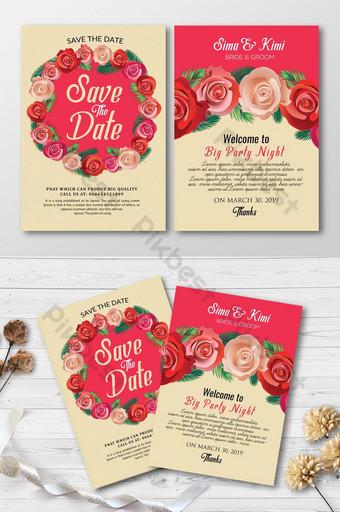 Belles cartes d'invitation florales roses Modèle PSD