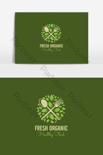 diseño de logotipo de comida y restaurante elemento gráfico de vector verde simple Elementos graficos Modelo AI