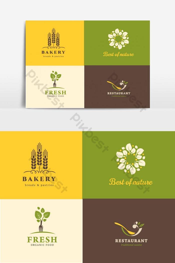 Еда и ресторан логотип коллекции векторных графических элементов