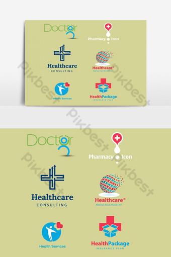 elemento gráfico de vector de plantilla de diseño de logotipo de atención médica Elementos graficos Modelo AI