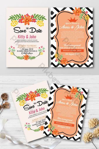 Cartes d'invitation florales d'aquarelle Modèle PSD