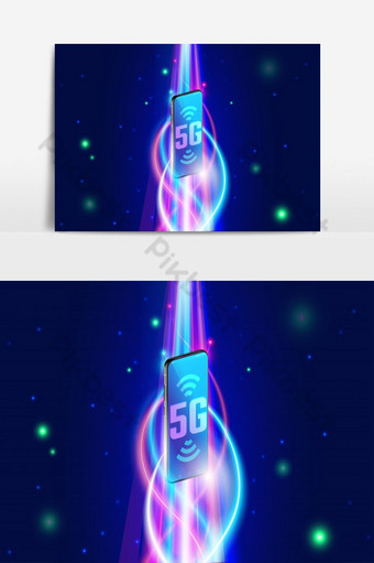 High speed 5g wireless network on smartphone concept, next generation PNG Images Template EPS