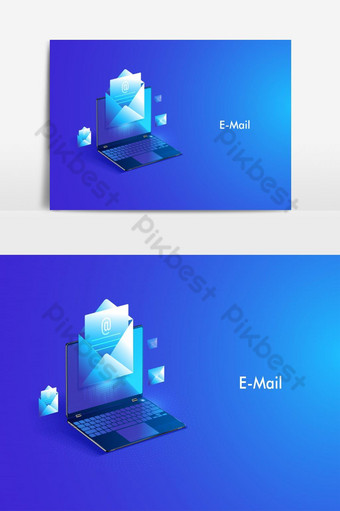 Email service isometric design. Electronic mail message and web Vector Graphic Element PNG Images Template EPS
