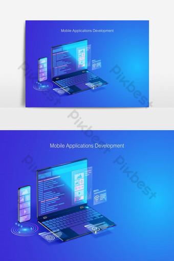 codificación y programación de diseño de aplicaciones de desarrollo web en elemento gráfico vectorial portátil Elementos graficos Modelo EPS