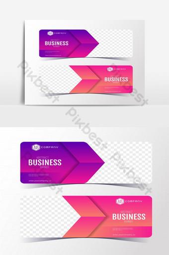 الملونة مجردة الأعمال راية قالب مجموعة بطاقات راية الأفقية صور PNG قالب EPS