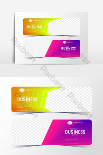 Colorful Gradient Abstract business banner template vertical banner cards set. PNG Images Template EPS