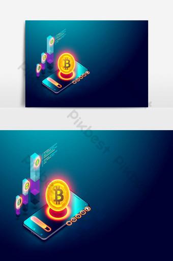 concepto de criptomoneda y blockchain elemento de gráficos vectoriales bitcoin Elementos graficos Modelo EPS