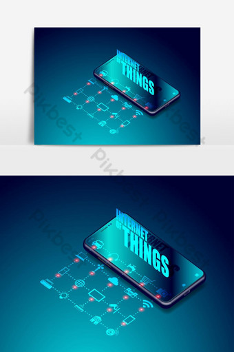 iot internet de las cosas en aplicaciones de teléfonos inteligentes cosas inteligentes elemento gráfico vectorial Elementos graficos Modelo EPS