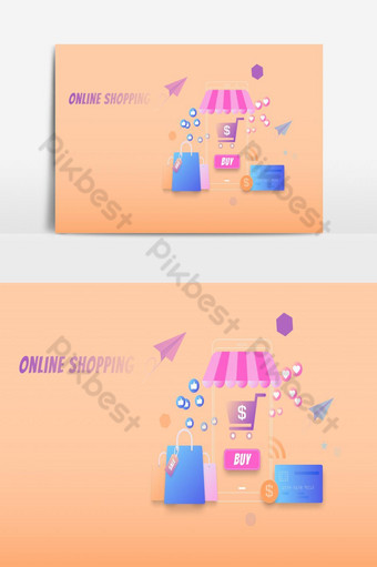 Online shopping modern flat concept buying Vector Graphic Element PNG Images Template EPS