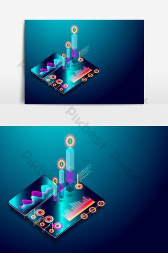 تحليل اتجاه الأعمال على شاشة الهاتف الذكي مع الرسوم البيانية وتحليل السوق والرسومات المتجهة ه صور PNG قالب EPS