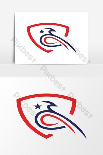 modernong makabayan amerikano agila ulo logo Vector Graphic Element Imahe ng PNG Template EPS