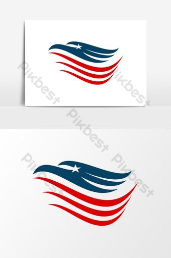 makabayan amerikanong agila ulo logo Vector Graphic Element Imahe ng PNG Template EPS