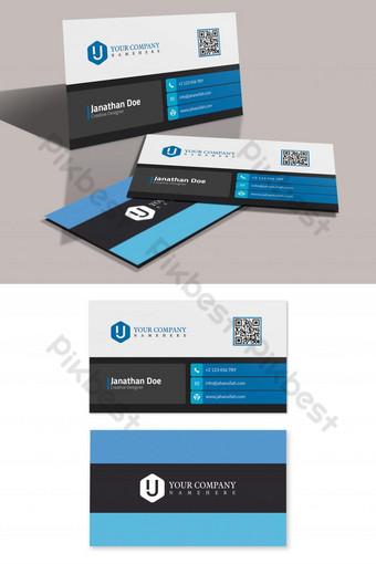 Carte de visite d'entreprise bleu blanc et noir Modèle PSD