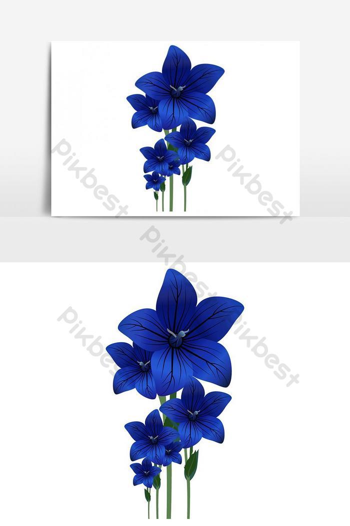 귀여운 파란 꽃 벡터 그래픽 요소