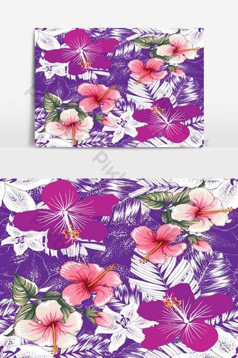 patrón sin costuras tropical repetir lilly rosa hibisco flores vector elemento gráfico Elementos graficos Modelo EPS