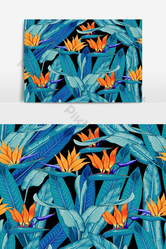 patrón sin costuras tropical hermoso con elemento gráfico de vector de ave del paraíso Elementos graficos Modelo EPS