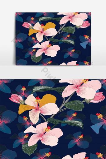 patrón floral transparente color rosa pastel flores de hibisco elemento gráfico de vector abstracto azul oscuro Elementos graficos Modelo EPS
