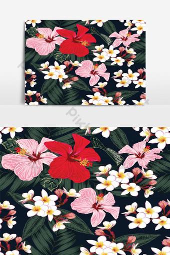 patrón floral transparente hojas de palma verde elemento gráfico de vector de hibisco rojo y rosa Elementos graficos Modelo EPS