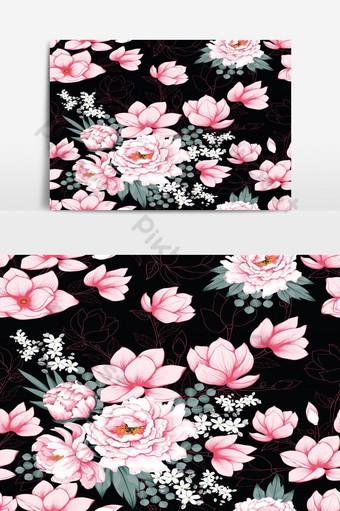 elemento gráfico de vector vintage de paeonia rosa de patrones sin fisuras Elementos graficos Modelo EPS