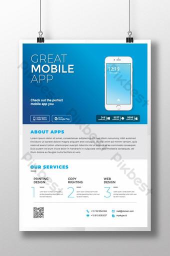 Flyer de l'application mobile Sky Blue Modèle AI