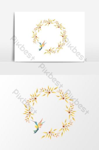 Hermosos marcos con corona floral de acuarela y elemento gráfico de vector de pájaro Elementos graficos Modelo PSD